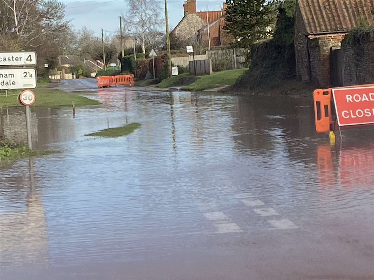 This scene, taken ahead of the weekend snow, shows the scale of flooding in Burnham Market (44310831)