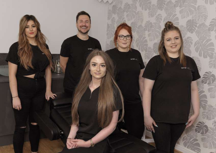 One Studio Hair and Beauty, 75 Norfolk Street King's Lynn in the new beauty room which was introduced in June.'Back LtoR, Jade Hanks, James Quinan, Demi Oxberry, Kelsey Leake.'Front Laura Chapman.