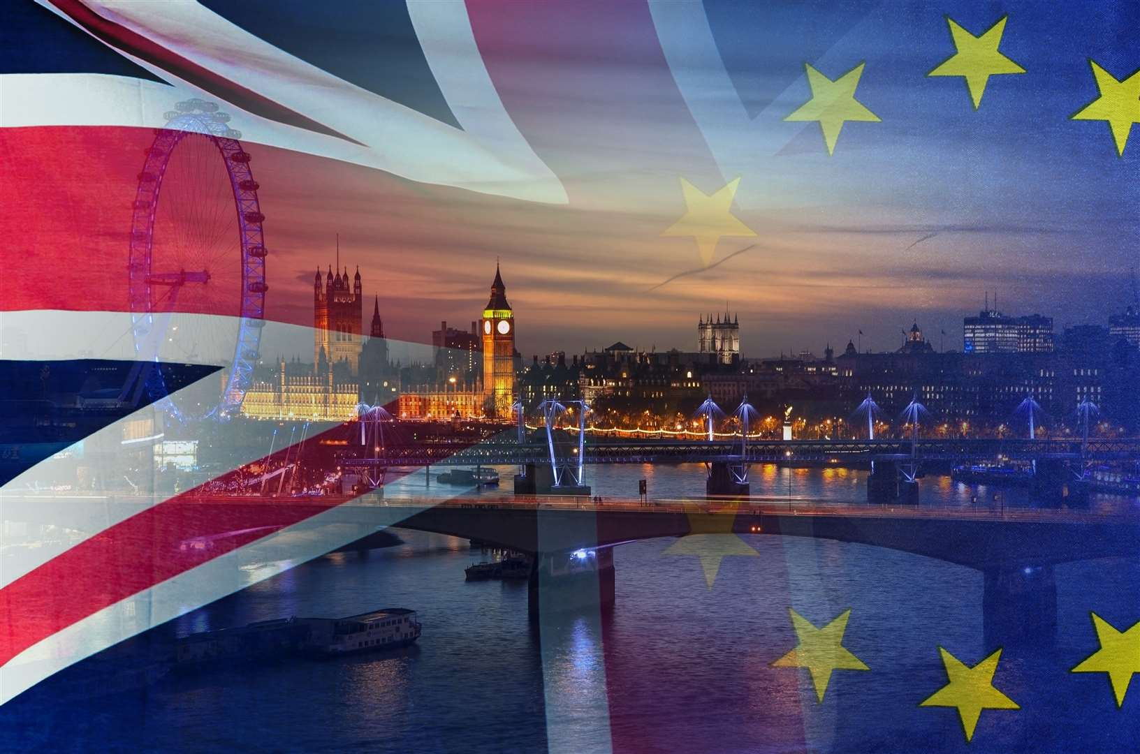 BREXIT concept image of London image and UK and EU flags overlaid symbolising agreement and deal being processed (19439484)