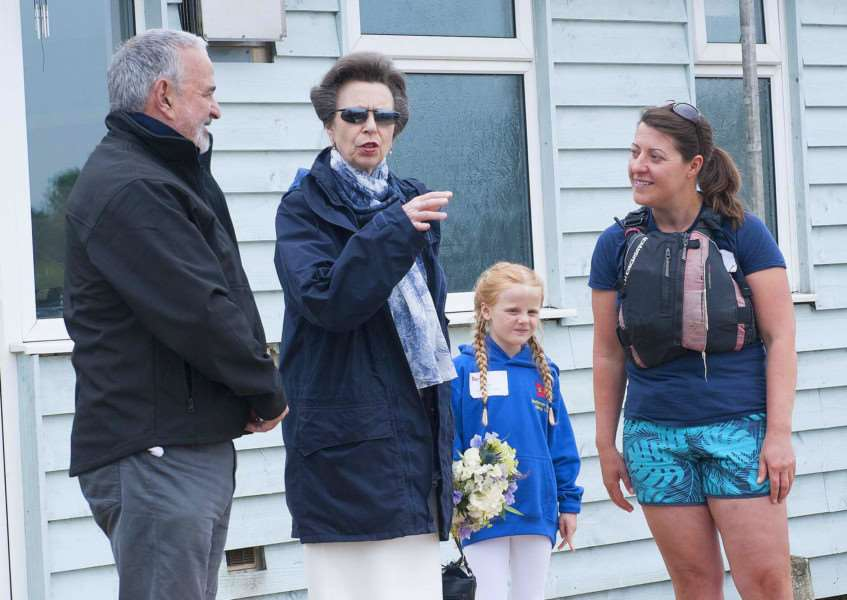 Princess Anne arrives to open newly refubished Snettisham Beach Sailing Club clubhouse. Pictured FLtoR Adrian Tebbutt (Commodore) Princess Anne. Sofia Eaton. Jane Wright (Instructor)