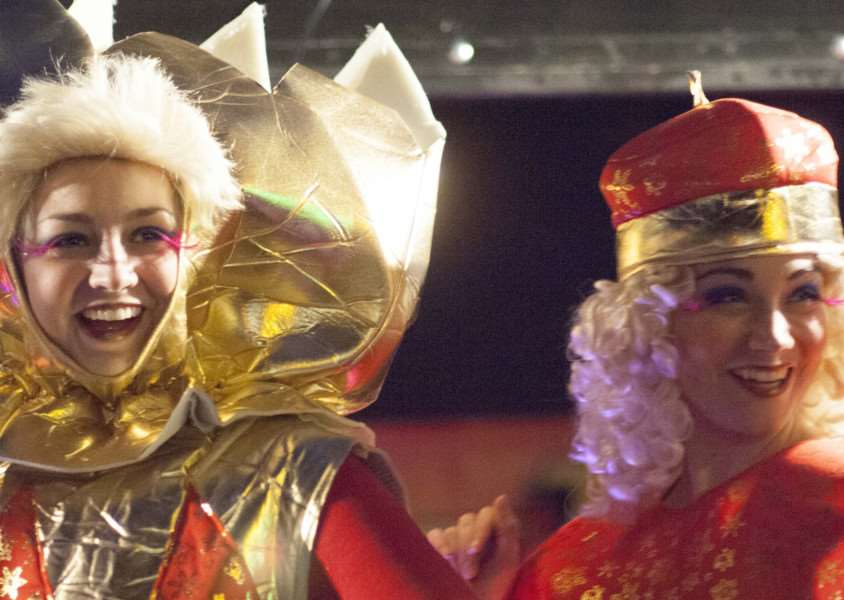 Christmas Lights Switch On at Hunstanton. Pictured Characters from The Princess Theartre Panto Cinderella.