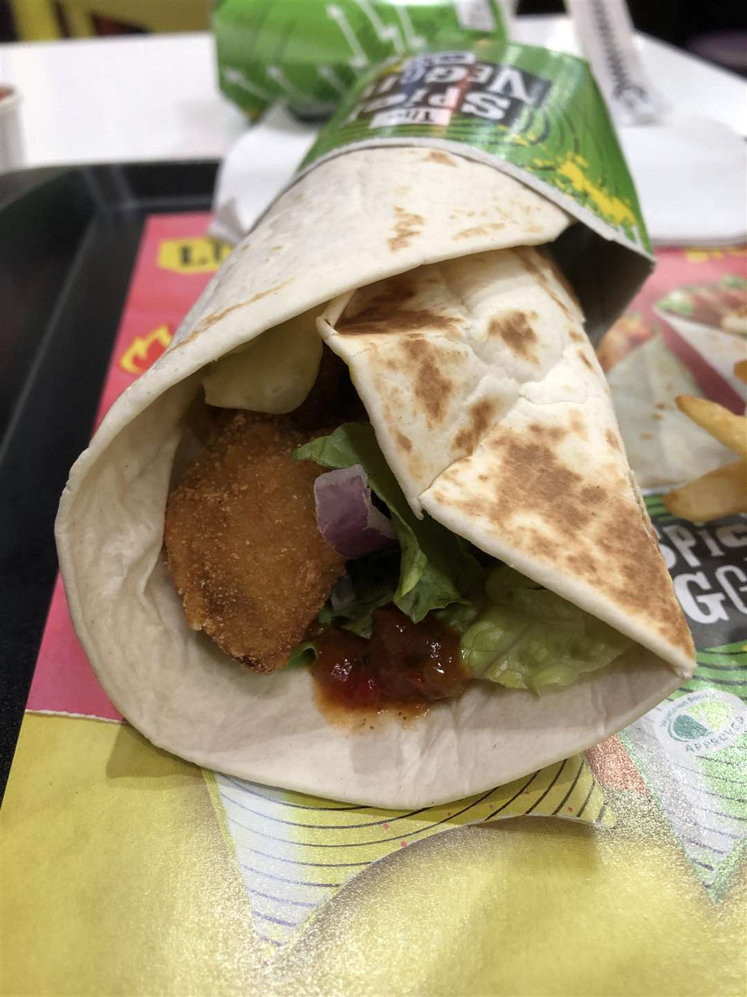 Veggie feature - the new The Spicy Veggie One wrap at McDonald's. (6369441)