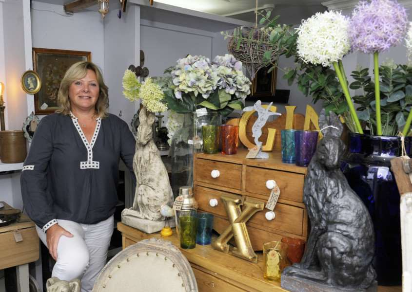 Suzy Martin Antiques The Green East Rudham. Suzy opened her shop recently as a new business.