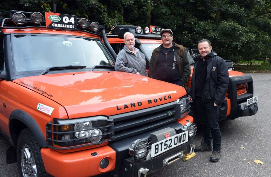 Land Rover drive in aid of Firefighters Charity''Richard Stock, Mick Moxon and Phil Evans
