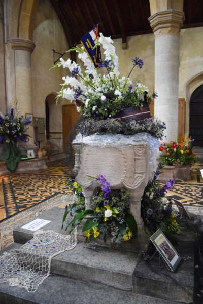 OLD HUNSTANTON CHURCH FLOWER FESTIVAL'Fishers of Men created by Mary Rutland