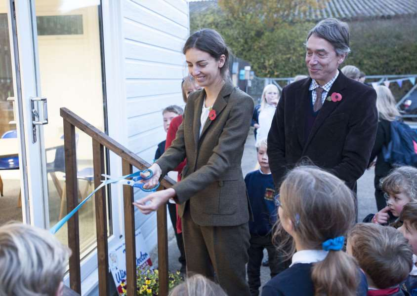 Opening of New completed classroom at Harpley Primary School. Pictured officially opening the event Lord and Lady Cholmordely.