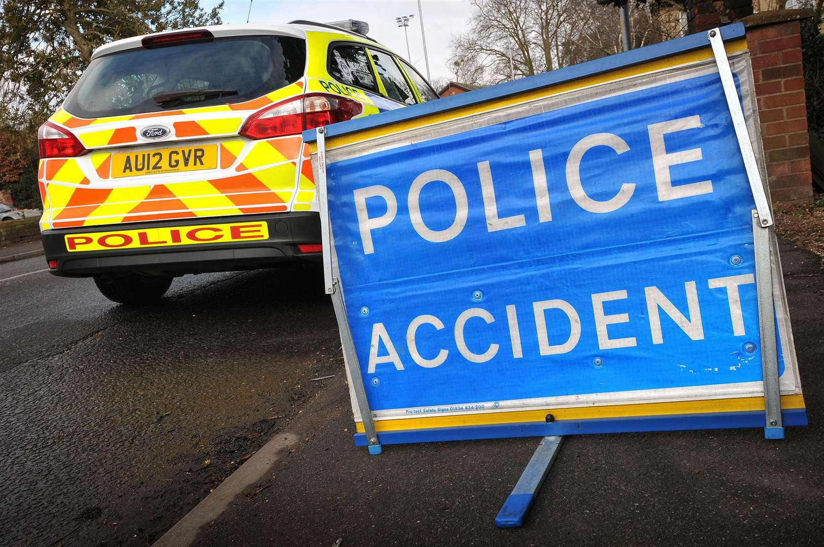 Police on the scene of an RTC - Norfolk Police accident sign. (2947411)