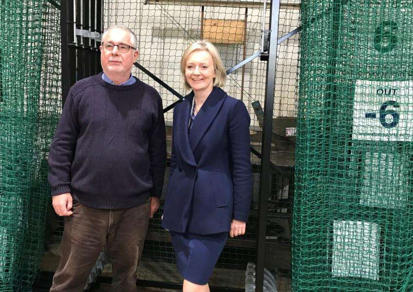 DEM Sports Ltd director John Loveday with Elizabeth Truss MP