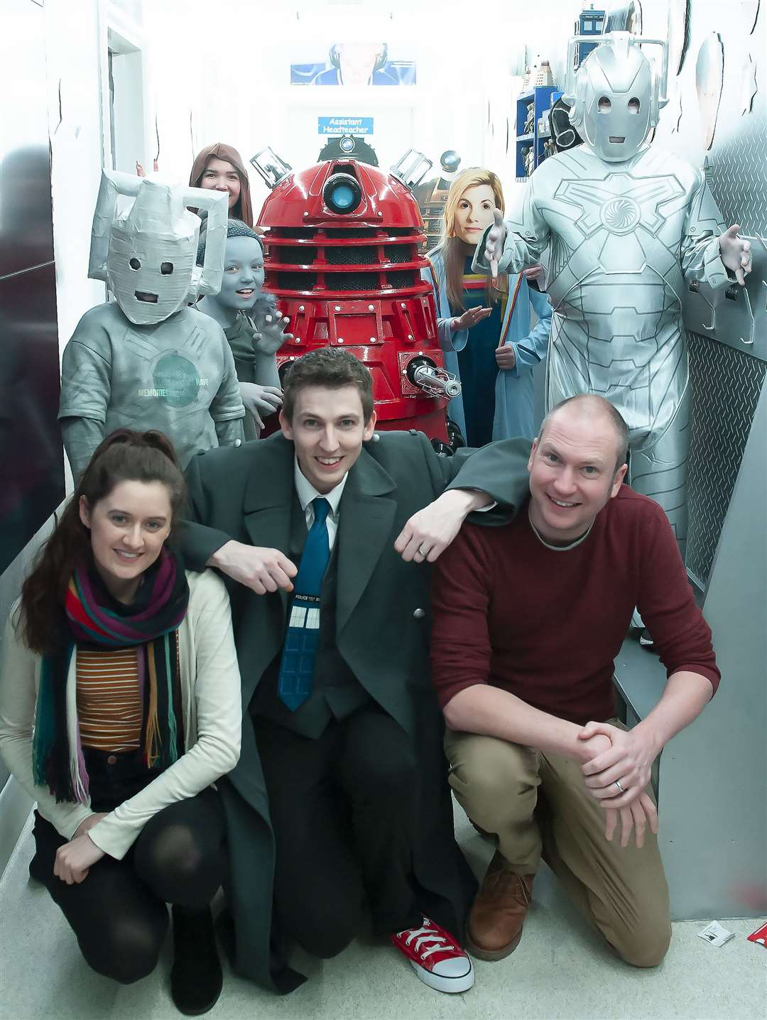 Pictured from left are Emma Cook (Dr Who Magazine), Ash Kirwan (Teacher) and Simon Guerrier (Dr Who Magazine writer)