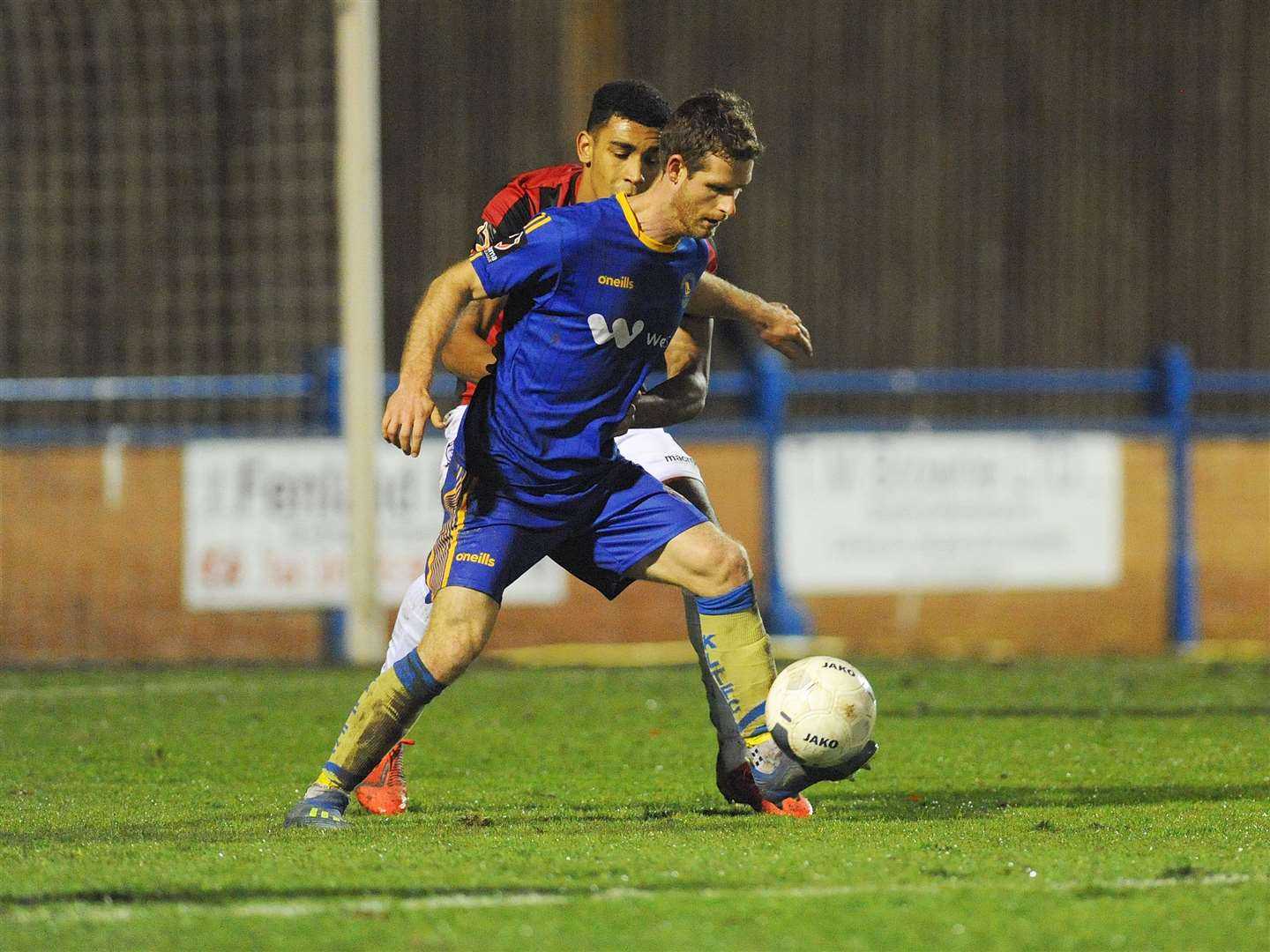 Adam Marriott shields the ball. (22456617)