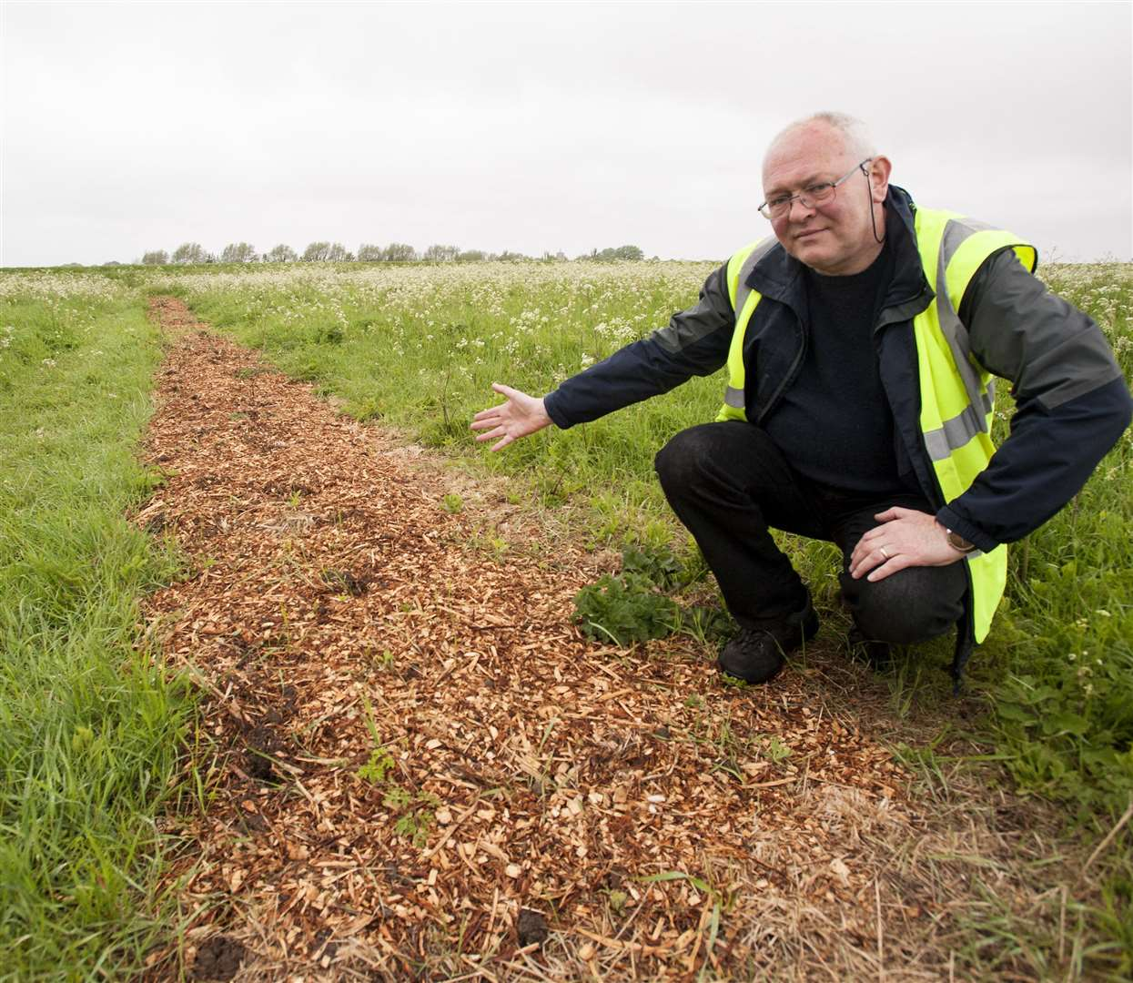 Around Three Hundred newly planted hedge plants have been ripped up and stolen from Hardings Pits King's Lynn. Pictured at the area is Rob Archer, Chairman of HPCA