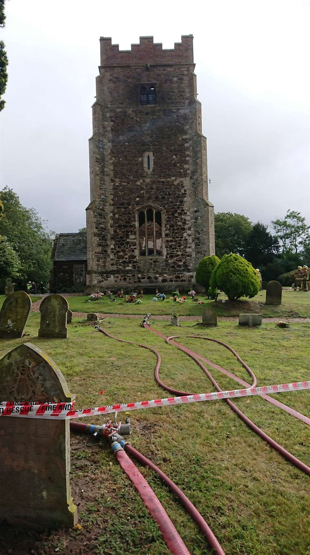 The scene at Wimbotsham this morning following the church fire