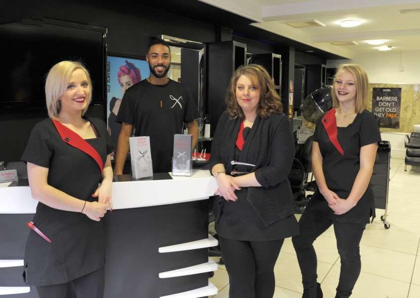 Razor Sharp have now moved to new premises at 7 New Conduit Street King's Lynn. 'LtoR, Sophie Goodacre (owner), Daniel Reid (stylist), Stacie Baker (stylist), Zoe Fordham (junior stylist