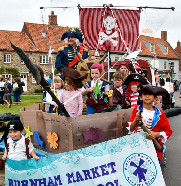 BURNHAM MARKET FLOWER SHOW AND CARNIVAL'Avast, me hearties - Burnham Market Nursery School won the best decorated float competition