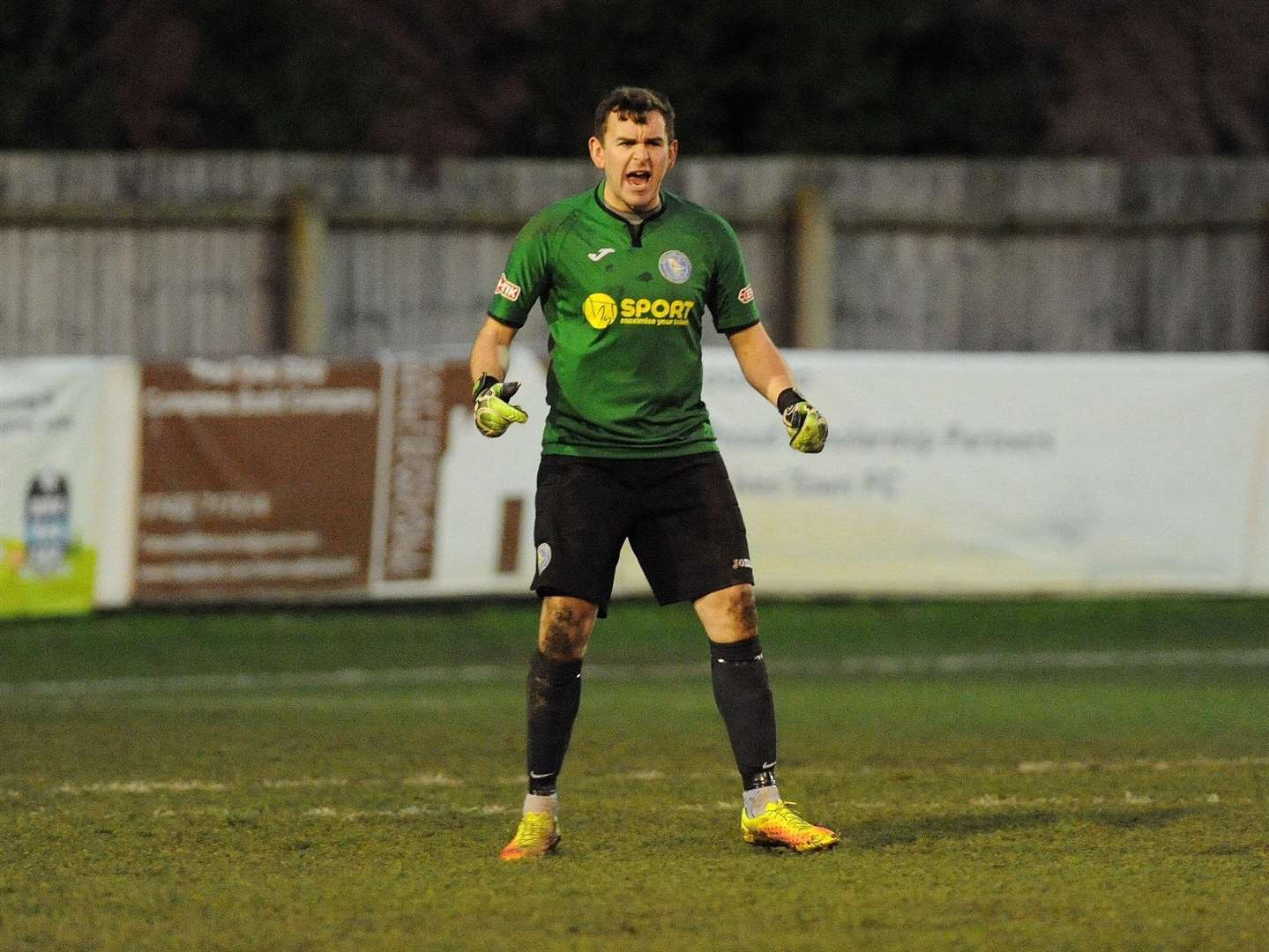 King's Lynn Town's Mr Reliable Ales Street celebrates his penalty save. Picture: TIM SMITH (6790764)