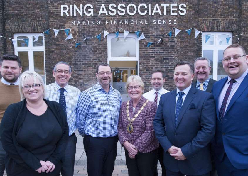 Pictured in centre Mayor of King's Lynn Carol Bower with staff of Ring Associates