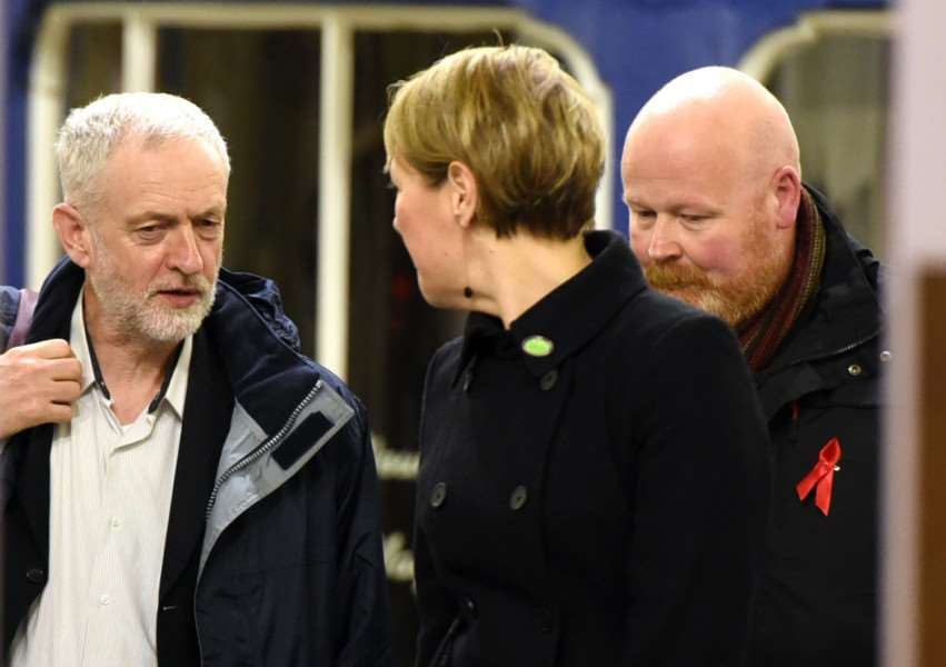 Labour Leader Jeremy Corbyn with Jo Rust at King's Lynn Railway Station Saturday December 5th 2015
