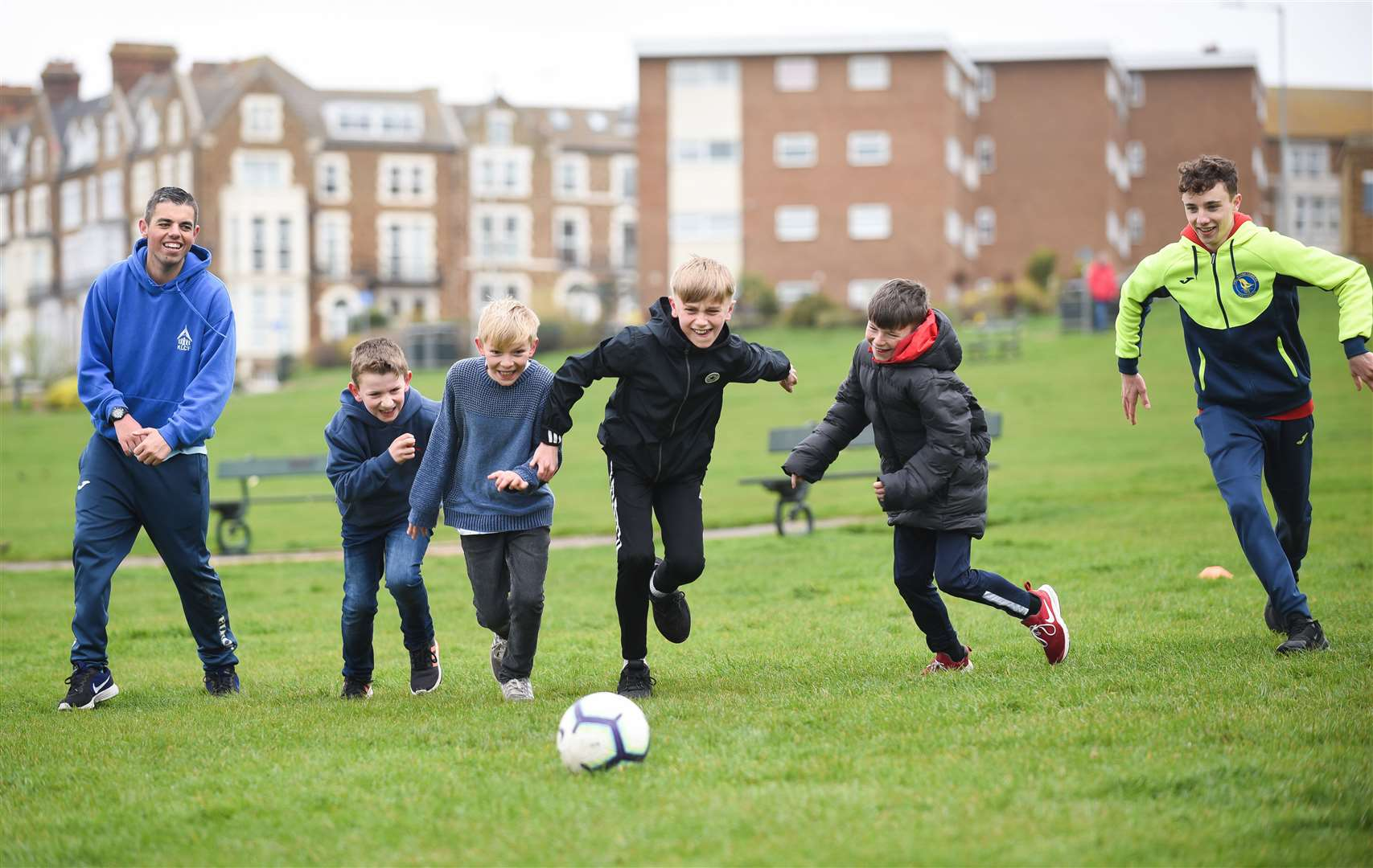 A half-term multi-sport session was held on The Green in Hunstanton. Pictured from left to right are King's Lynn Community Football coach Nathan Hudson, Jacob Asman (10), Charlie Burrell (10), Alfred Buhlemann (10), Henry Buhlemann (9) and Joe Gascoigne
