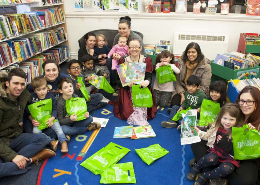 Jack and the Beanstalk Storytime at King's Lynn Library Pictured in centre Librarian Allison Thorne with children and parents