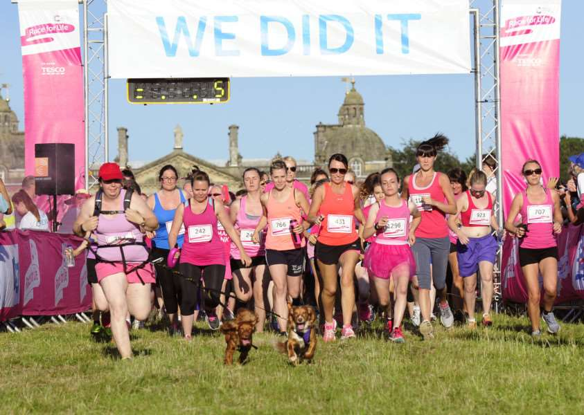 Race for Life charity event at Houghton Hall Norfollk, for Cancer Research UK.