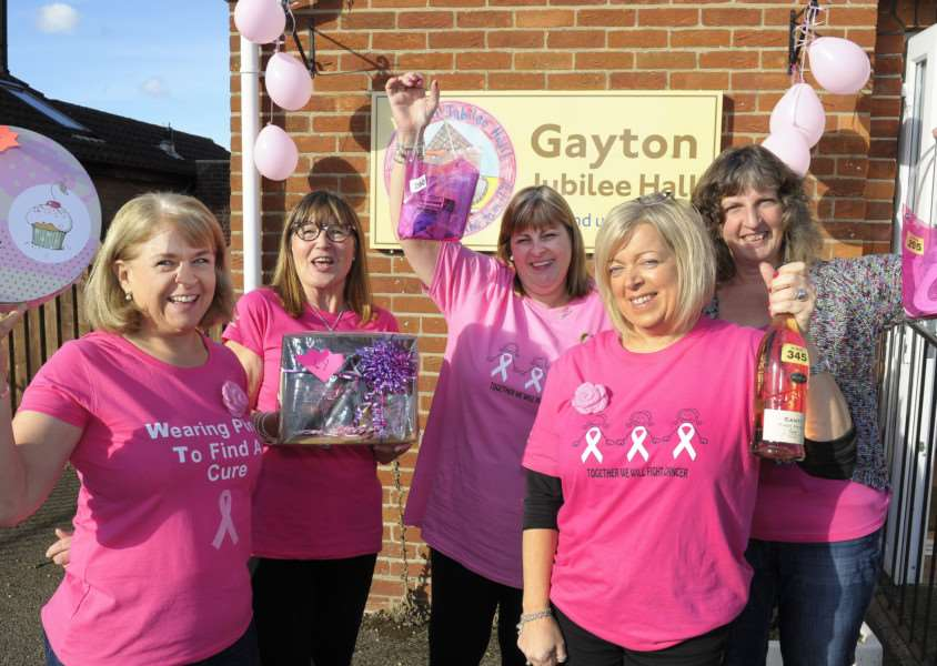 PINK DAY at Gayton Jubilee Hall raising money for Breast Cancer LtoR, Sally Attwell, Kay Shambrook, Wendy Martell, Mandy Smith, Catherine Leigh.