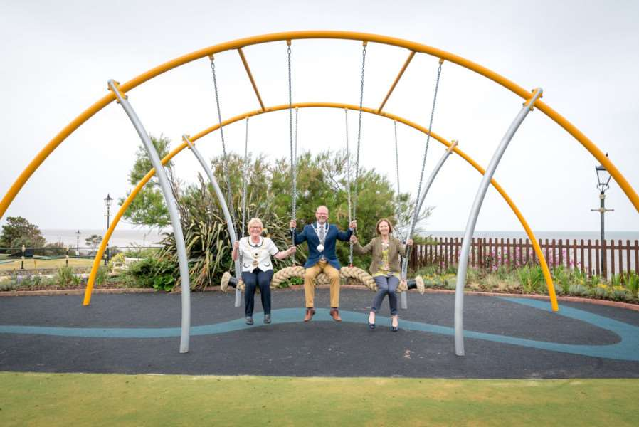 Cllr Elizabeth Nockolds, deputy leader and cabinet member for Culture, Heritage and Health, Cllr Carol Bower, borough mayor, and Cllr Adrian Winnington, mayor of Hunstanton officially open the new �130k play area in the Hunstanton Heritage Gardens