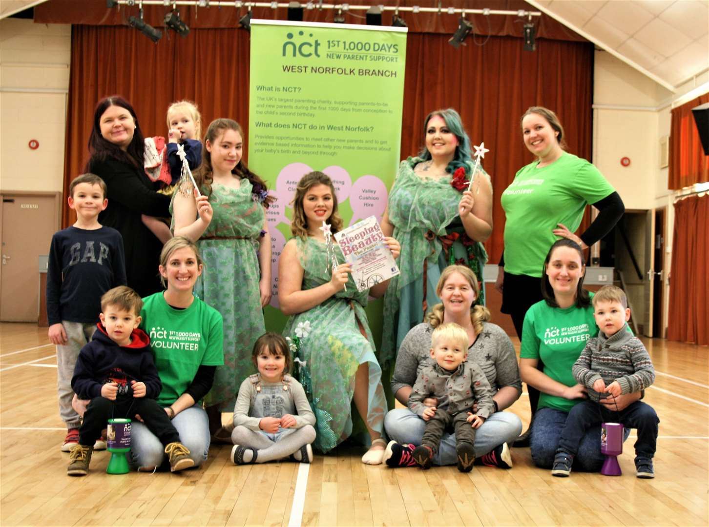 Pictured are Fairies Daisy, Violet and Rose with volunteers from the NCT and their children. (27283546)
