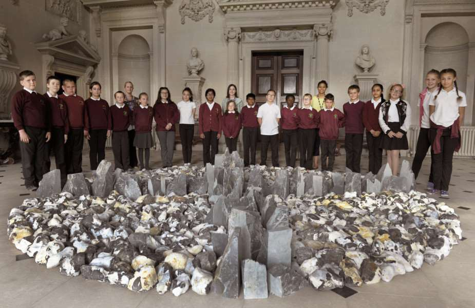 BeLong Education Project at Houghton Hall with pupils from Fairstead Primary School, King's Lynn 'Pupils with the North South East West Sculpture