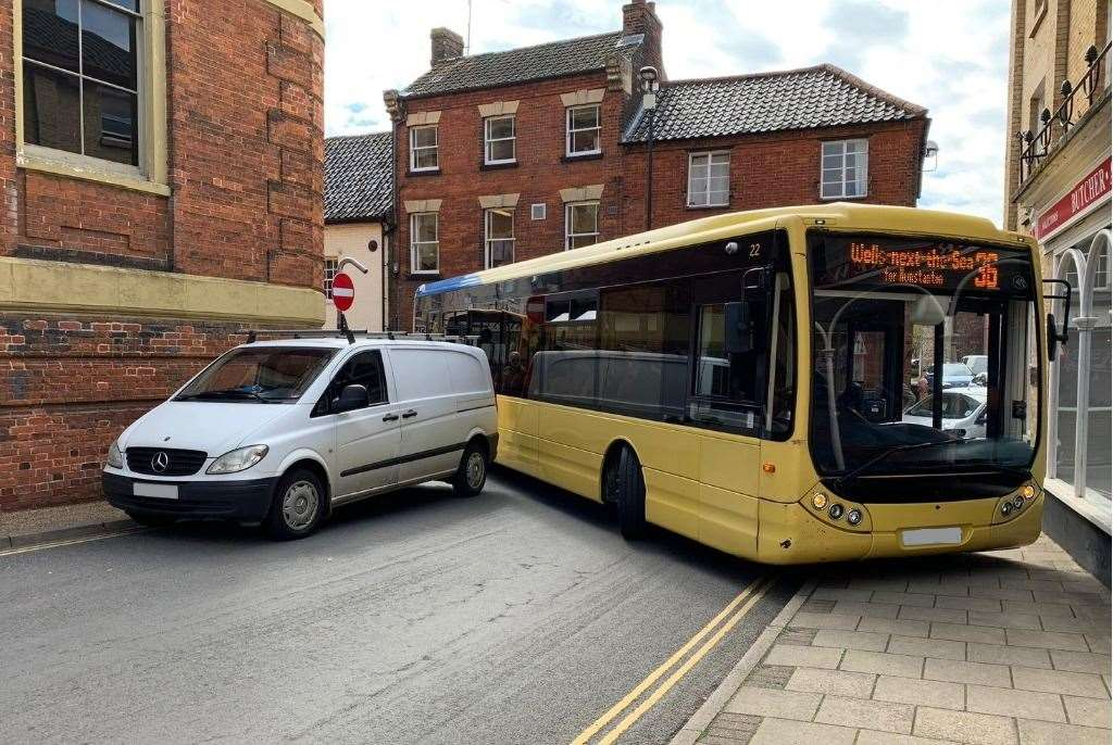 The 36 Lynxbus service from Fakenham to Wells-next-the-Sea was unable to serve Heacham today because of this delay (9544035)