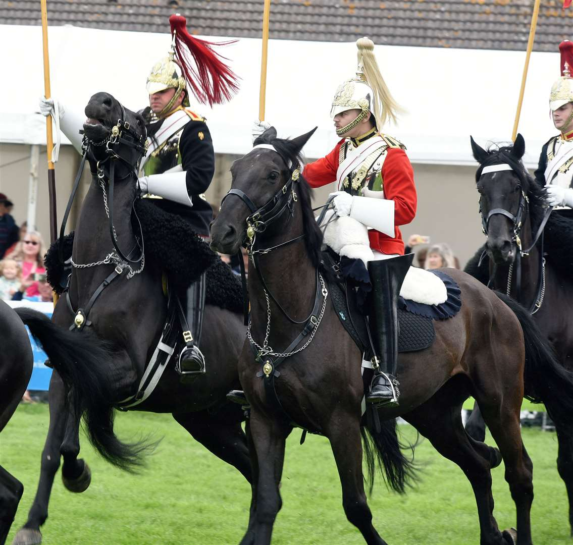 The Royal Norfolk Show Norwich, Day One Wednesday 26th June 2019..Scenes from the Showground..Musical Ride of the Household Cavalry, a rider falls from his horse in the Grand Ring. (13046972)