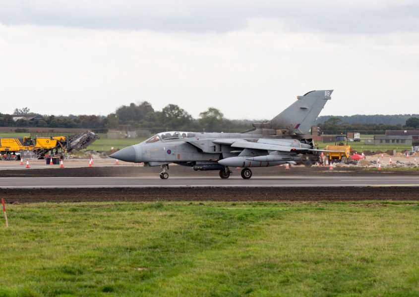 The first Tornado GR4 lands back at RAF Marham after three weeks away whilst the runway intersection was being resurfaced. The Tornado landed back on Friday afternoon at 1500, 29th September 2017.