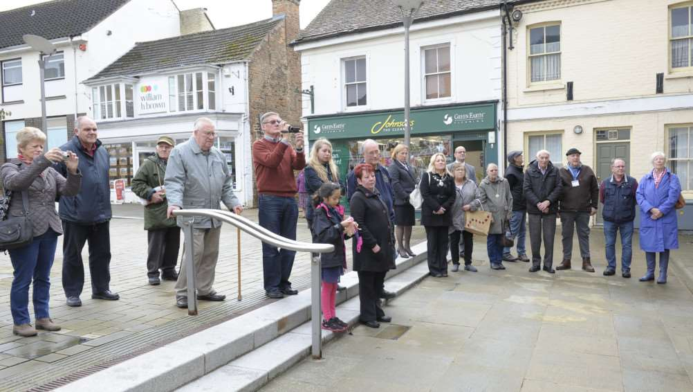 Unveiling of a new Downham Town Hall Foundation Stone at Downham Town Square.