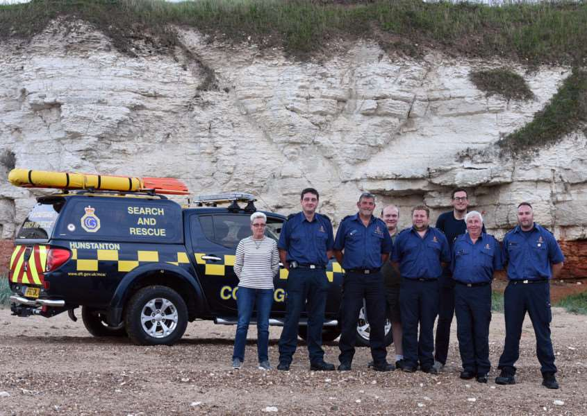 Hunstanton Coastguard Feature'left to right front'Dawn Morris-Statham, Ian Tuddenham Les Collison, Ben Howell, Steve Howell, Michael Fysh'left to right back Adam Borley and Tom Collison