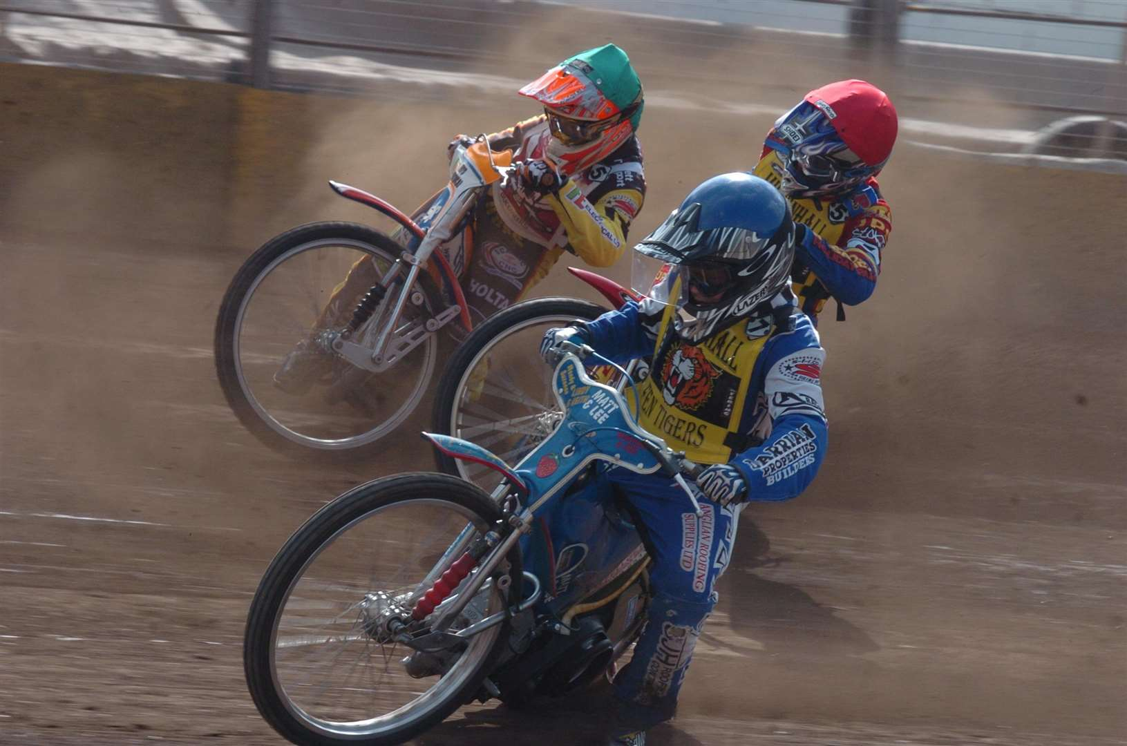 Kyle Newman, in yellow, racing for the Mildenhall Fen Tigers.