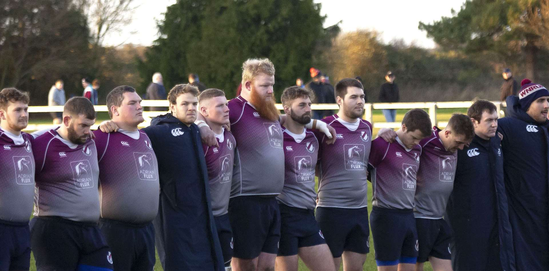 West Norfolk Rugby Club players group ahead of a derby against Wisbech last season before the sport was hit by the coronavirus pandemic