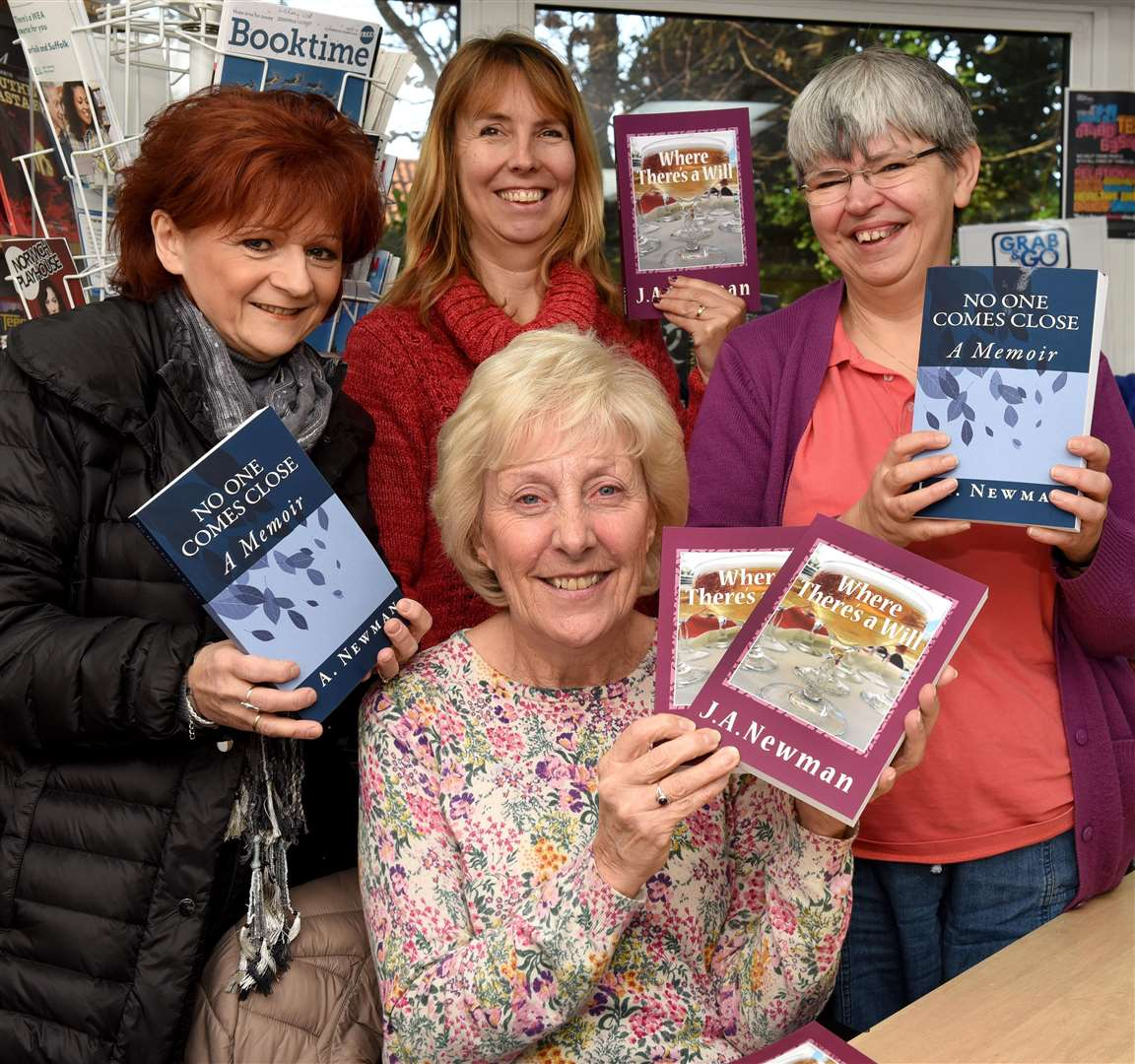 Local Author J.A.Newman will be talking about her writing journey and how she created her debut novel 'WHERE THERE'S A WILL' the event was held at Downham Market Library, ..Author Julie Newman (front centre), with guests at the event, LtoR, Ali Carter, Jo Moss, Lynne Hubbard.. (5944788)