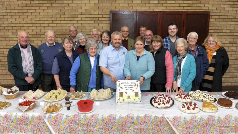 West Norfolk and King's Lynn Beekeepers Association 100 years Birthday.'Some of the members at the celebration, with Chairmam Peter Davies (centre)