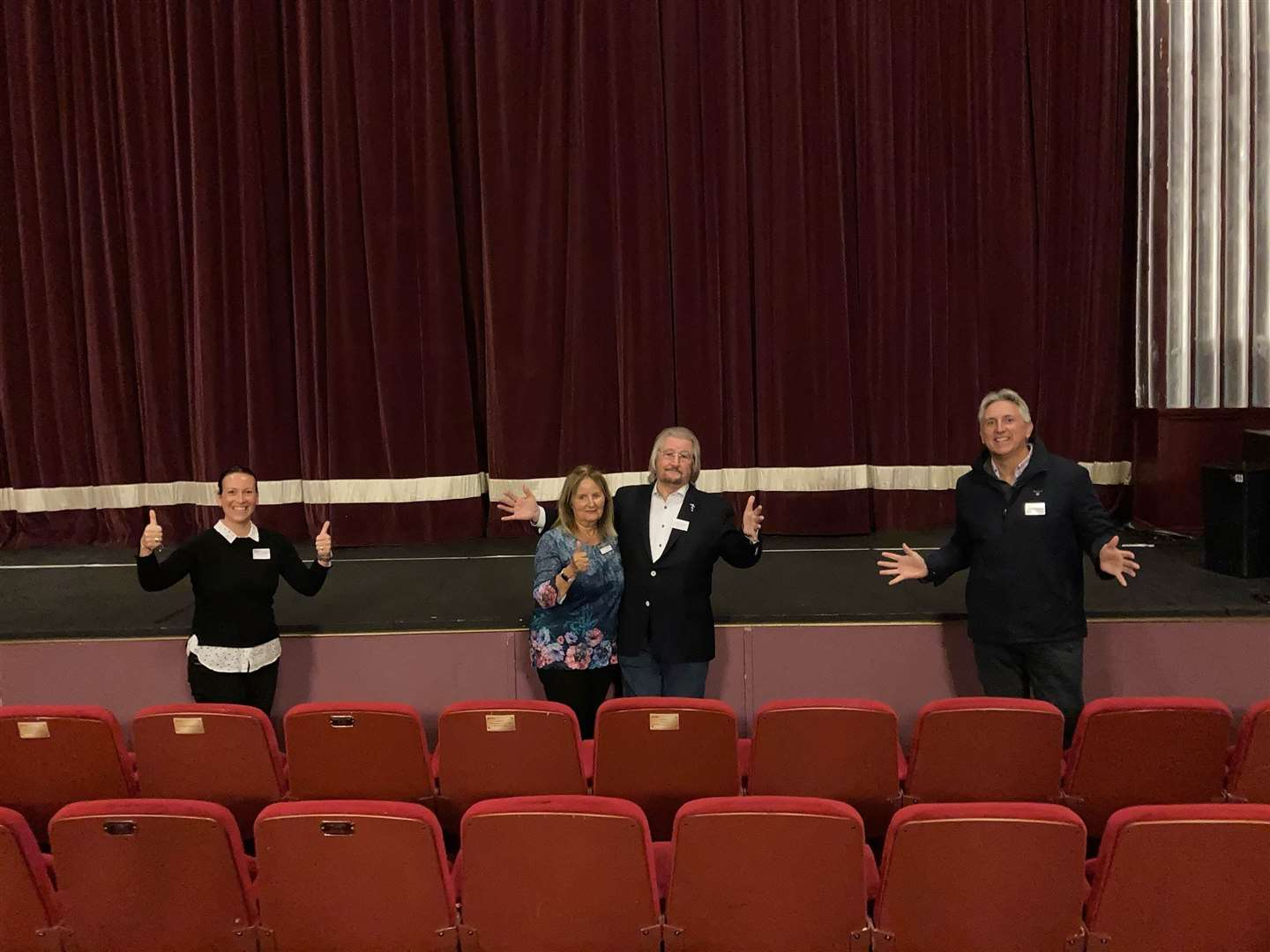 Princess Theatre staff celebrate being a recipient of government funding. Proprietor Brian Hallard is pictured in the centre. Picture: SUBMITTED