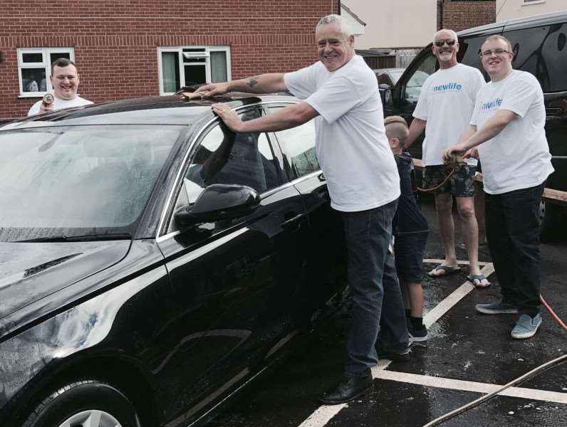 Staff at the Central England Co-operative funeral home in Gaywood on their charity car wash