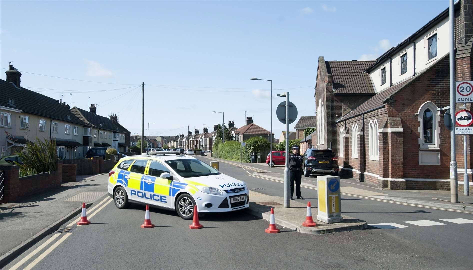 A police cordon was in place around the scene of yesterday's incident