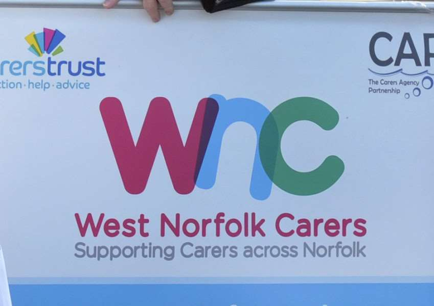 Roger Partridge running GEAR for West Norfolk Carers.'Ready for the off, Roger Partridge and Jane Evans (Ceo WHC)