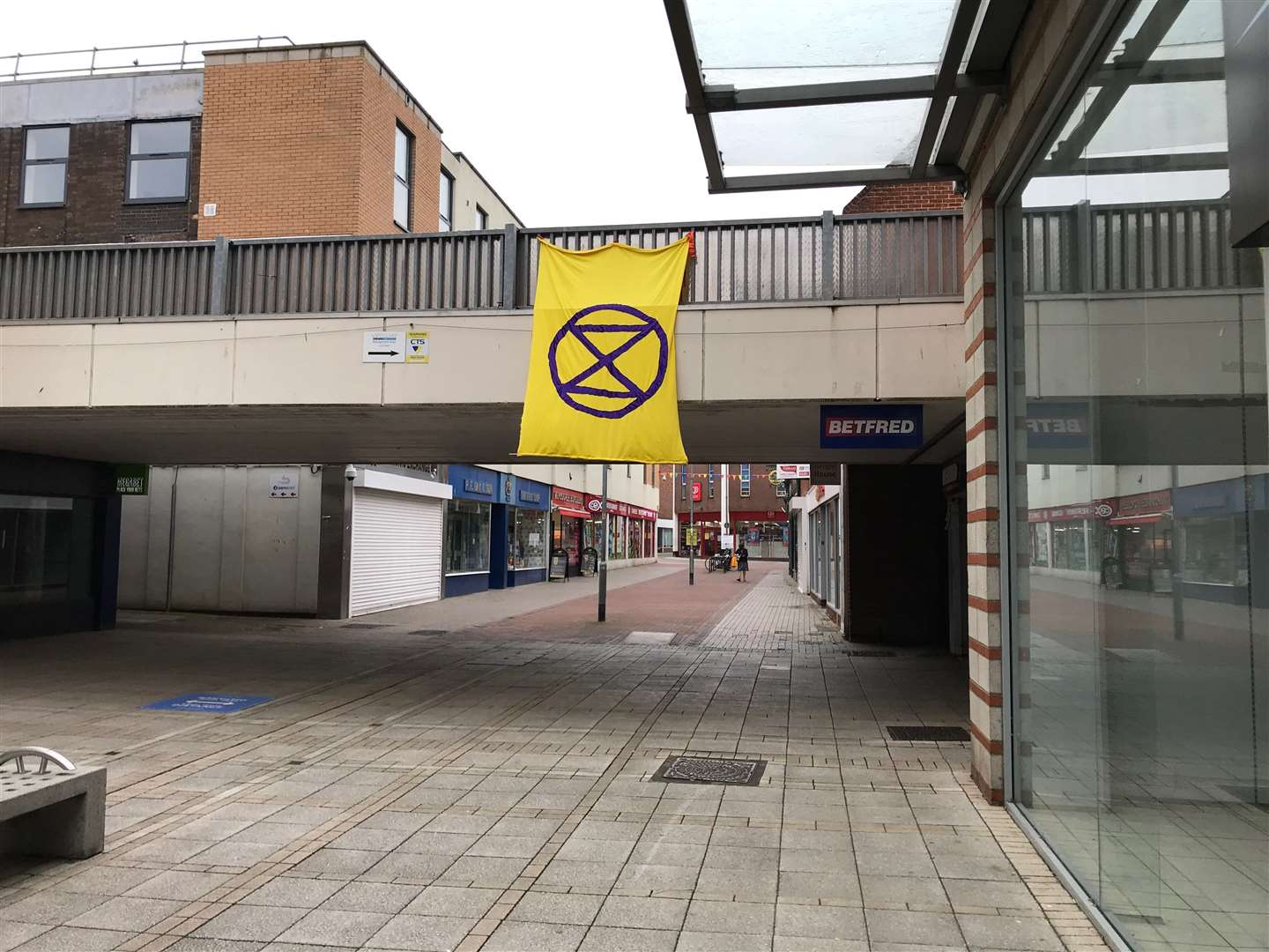 Extinction Rebellion activists hope this banner in the heart of Lynn will inspire others to protest about climate change (42211895)