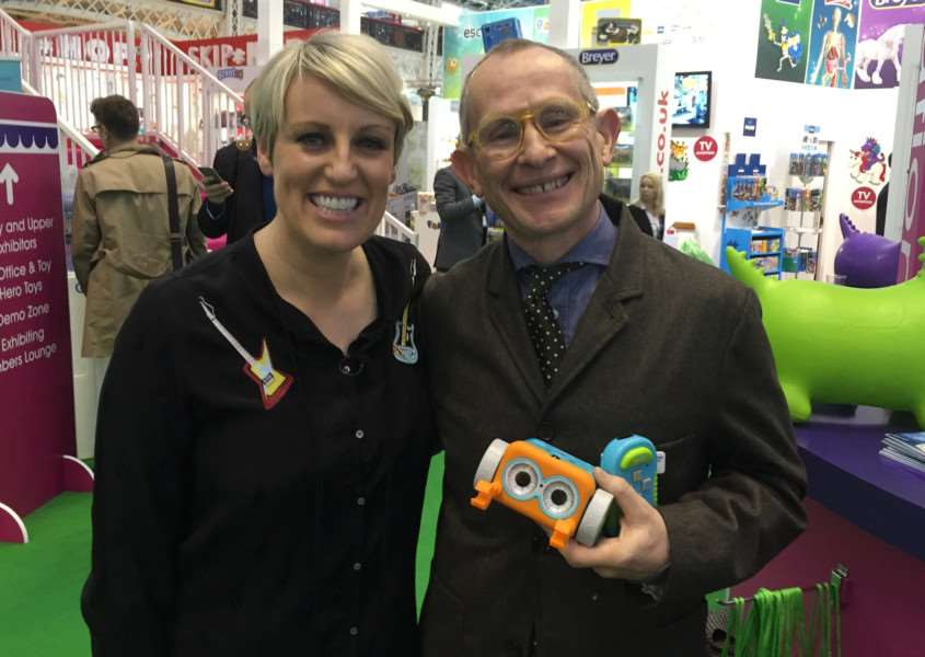 Dennis Blackmore with Steph McGovern at London Toy Fair
