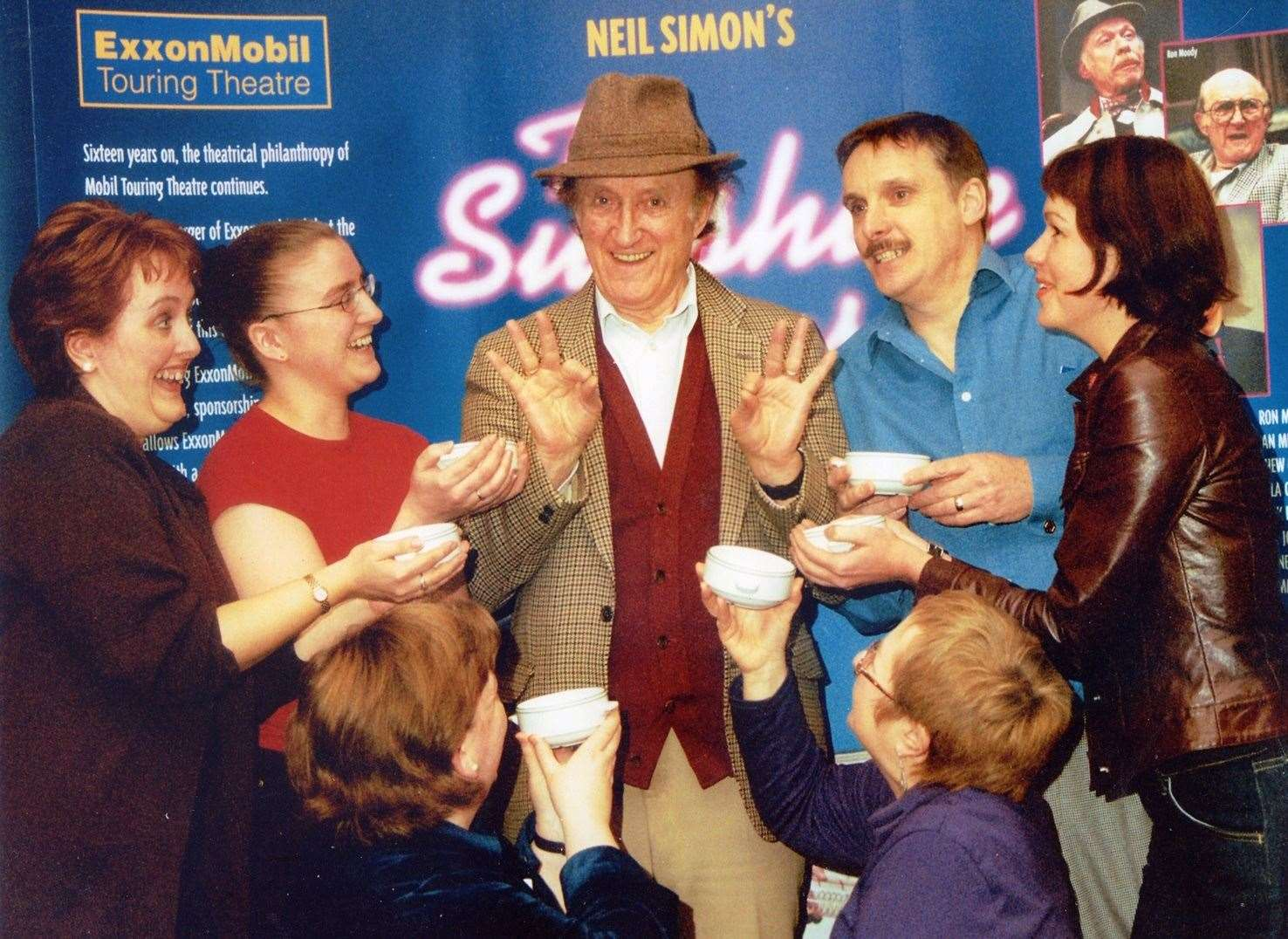 Ron Moody with From Left Sharon Fox, Samantha Ashby, Jane Farr, the late Jim Farr, Carol Beveridge and Marnie Barsby