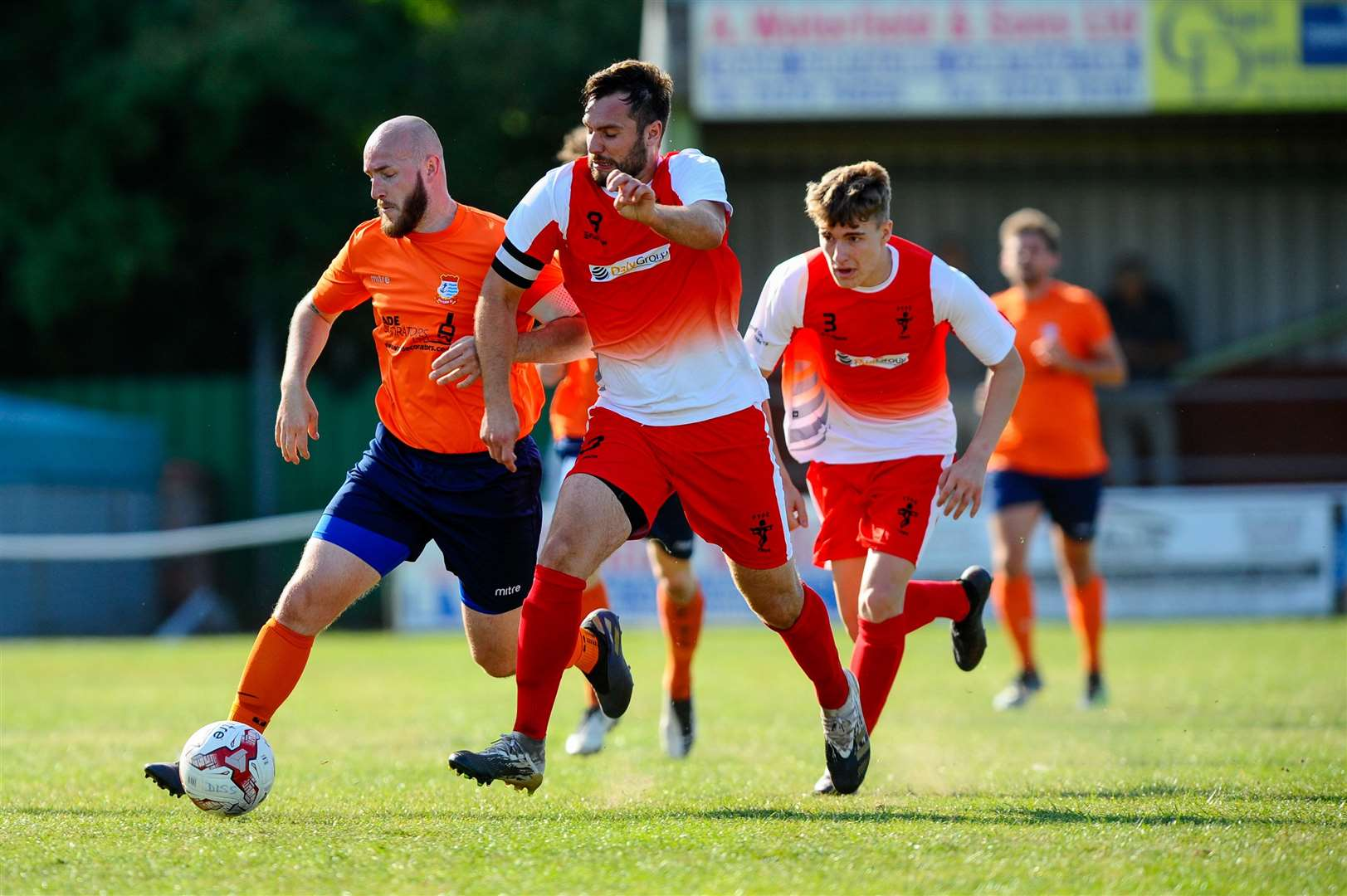 Diss, Norfolk, 19/09/2020..Football action from the FA Vase between Diss Town FC v Fakenham Town - Kyle Baker..Picture: Mark Bullimore Photography. (42328597)