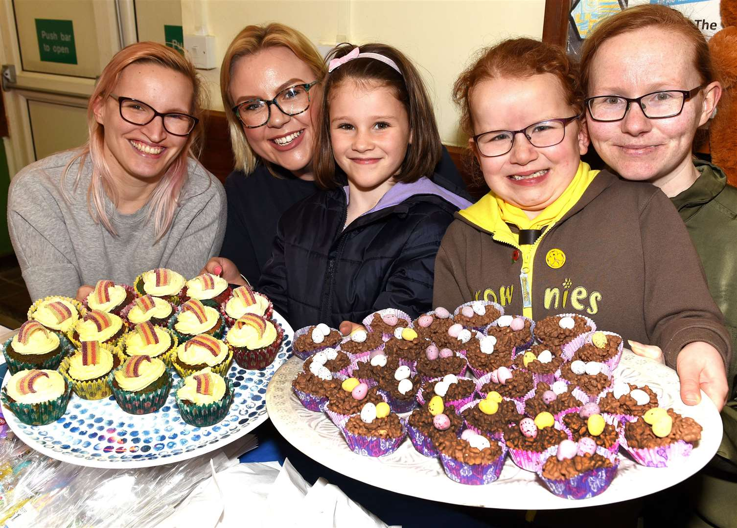 Easter Eggstravaganza at Marham Village Hall iao ongoing fundraising for the VH Disabled Toilets etc...Easter Goodies with members from the Marham 1st Rainbows and Brownies group, LtoR, Amy Woolmer, Claire Walton, Abbie Chambers, Macey Bray, Naomi Bray.. (8318806)