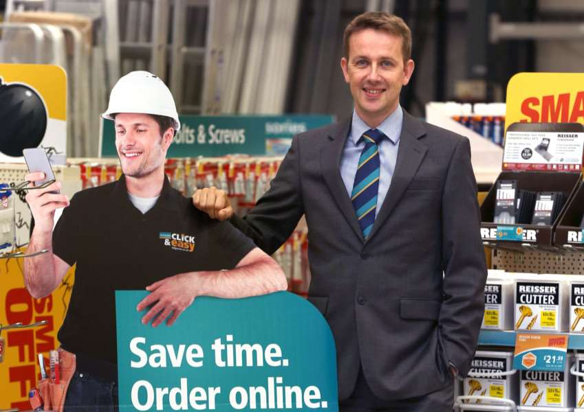 CEO of Ridgeons, Ian Northen launches the new Click & Easy online shopping facility at their Cambridge branch .