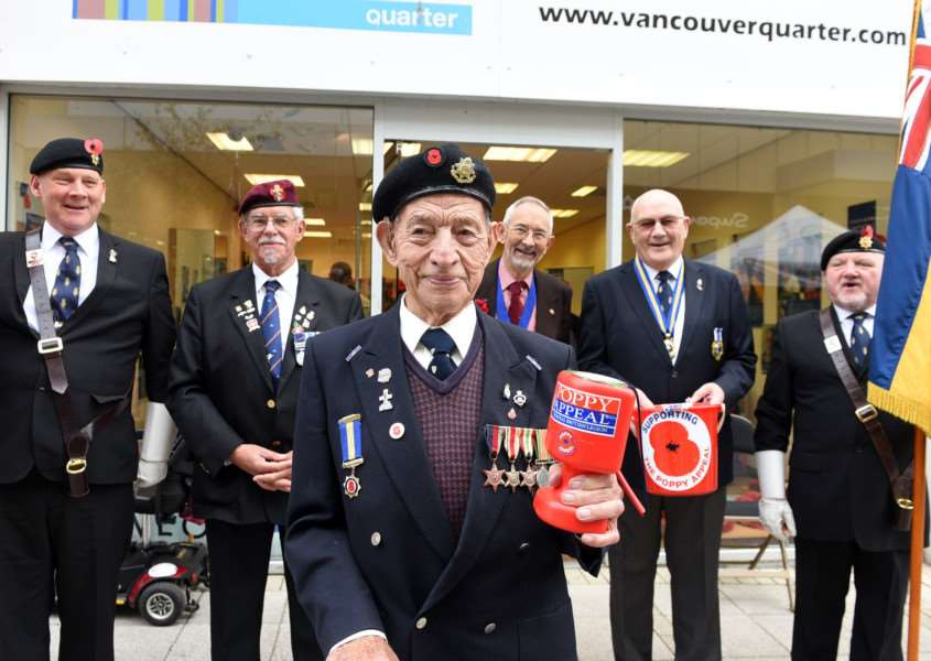 Launch of Lynn Royal British Legion branch Poppy Appeal,''left to right back Robert Hopkins, Paul Chase, Alderman John Loveless David Norman and Paul Giles''front Cyril Route