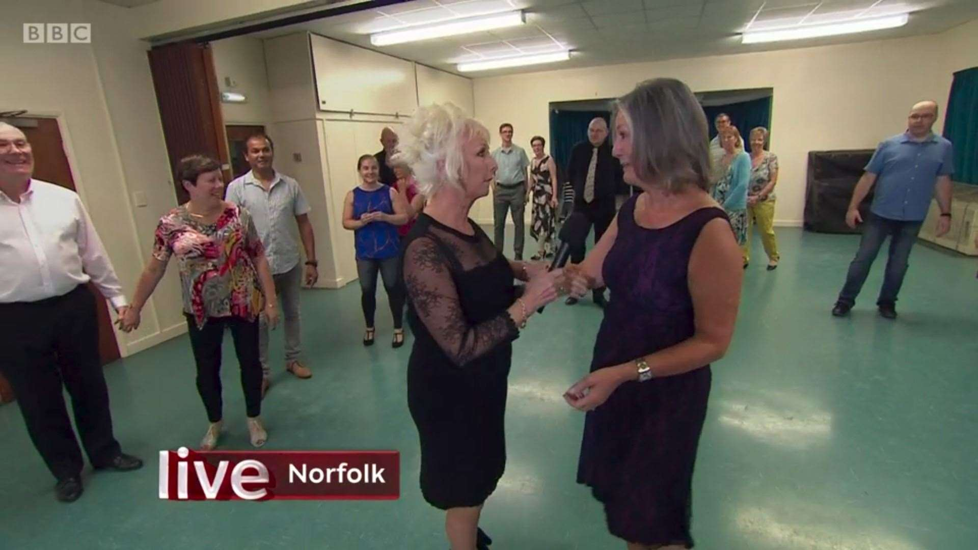 A still from BBC One's The One Show from 18.09.19 which shows former Strictly finalist Debbie McGee with Carole Jones of CJ Dance, and her class of students at Gaywood Church Rooms. Credit: BBC One.