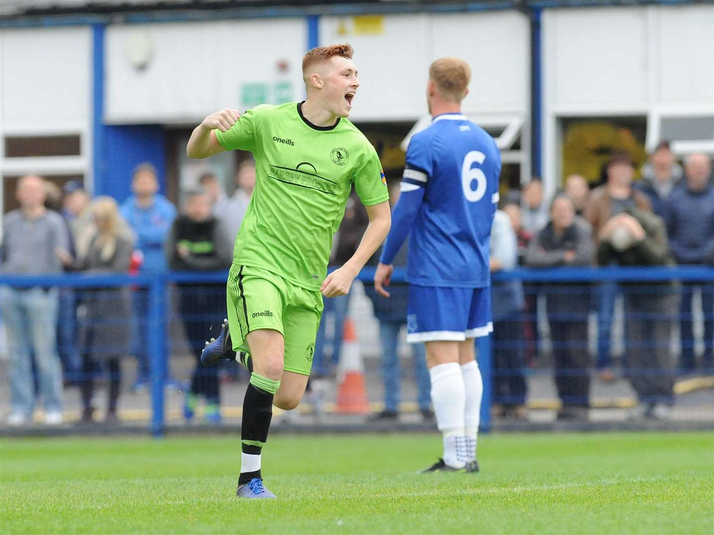 Sonny Carey celebrates opening the scoring during King's Lynn Town's 2-0 victory at Leek Town on Saturday. More on pages 46 and 47. Picture: Tim Smith (18770942)